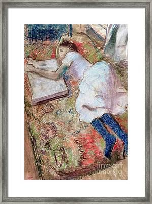 Reader Lying Down Framed Print by Edgar Degas
