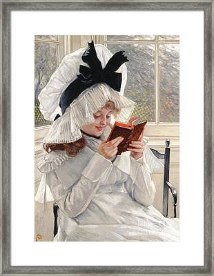 Reading A Book Framed Print by James Jacques Joseph Tissot