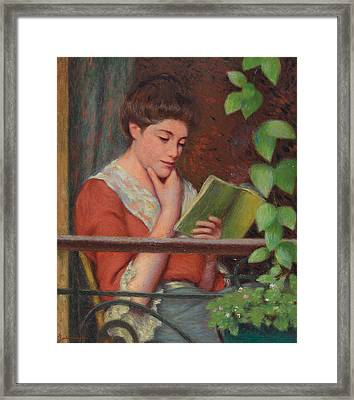 Reading Al Fresco Framed Print by Federigo Zandomeneghi
