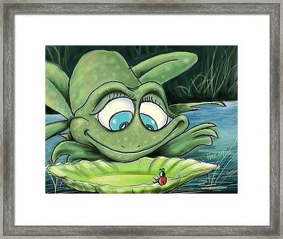 Reading By The Pond Framed Print by Hank Nunes