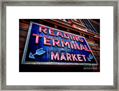 Reading Terminal Market Neon Sign Framed Print by Olivier Le Queinec