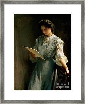 Reading The Letter  Framed Print by Thomas Benjamin Kennington