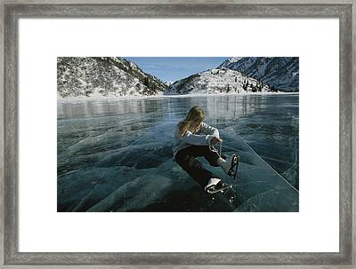 Rebecca Quinton Laces Up Her Ice Skates Framed Print by Michael S. Quinton