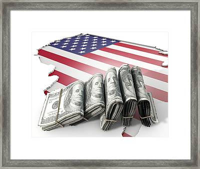 Recessed Country Map And Cash Usa Framed Print by Allan Swart