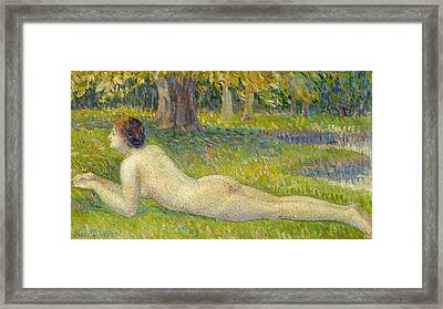 Reclining Woman Framed Print by Hippolyte Petitjean
