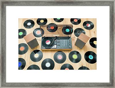 Records Lying On Floor Surrounding 1970?s Stereo System Framed Print by Jorg Greuel