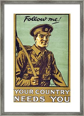 Recruitment Poster Follow Me Your Country Needs You Framed Print by English School