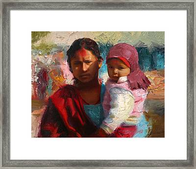 Red And Blue Portrait Of Nepalese Mother And Child Framed Print by Karen Whitworth