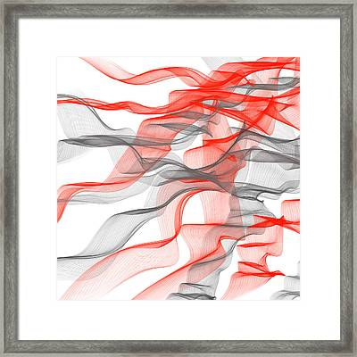 Red And Gray Ribbons -red And Gray Art Framed Print by Lourry Legarde