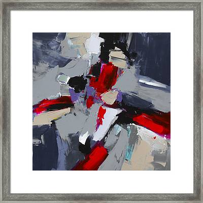 Red And Grey Abstract By Elise Palmigiani Framed Print by Elise Palmigiani
