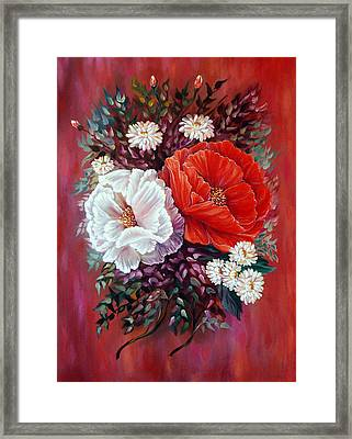 Red And White Framed Print by Katreen Queen