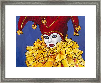 Red And Yellow Carnival Jester Framed Print by Patty Vicknair