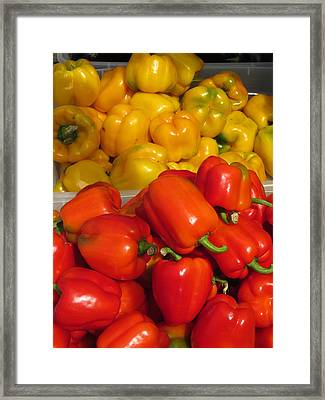 Red And Yellow Peppers Framed Print by Alfred Ng