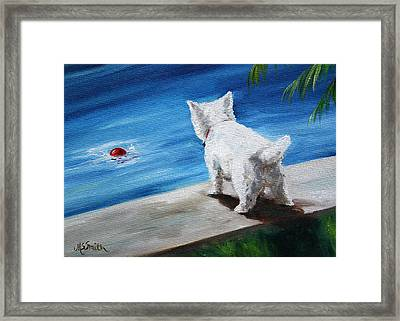 Red Ball Framed Print by Mary Sparrow