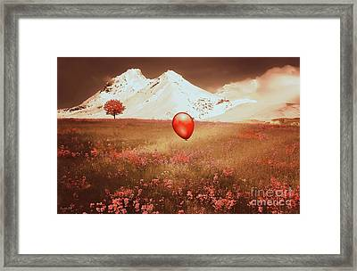 Red Balloon Over Scenic Meadow Framed Print by Kathy Franklin