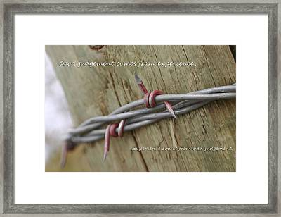 Red Barbwire Experience Framed Print by Kyla Schnabel