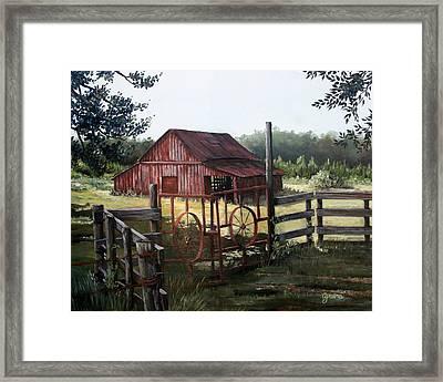 Red Barn At Sunrise Framed Print by Cynara Shelton