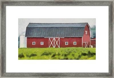 Red Barn Green Field Framed Print by Dan Sproul