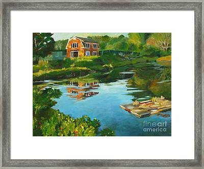 Red Barn In Kennebunkport Me Framed Print by Claire Gagnon