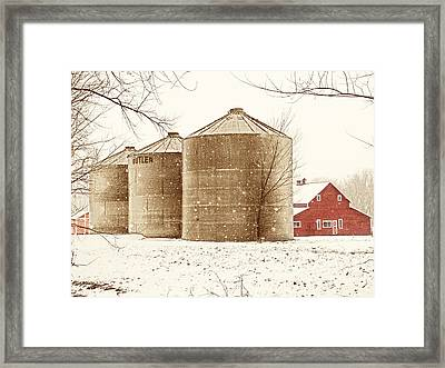 Red Barn In Snow Framed Print by Marilyn Hunt