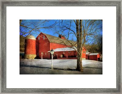 Red Barn In Snow - Vermont Farm Framed Print by Joann Vitali
