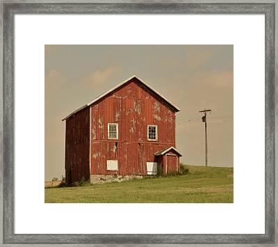 Red Barn Framed Print by Odd Jeppesen
