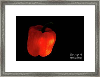 Glow-in-the-dark Red Bell Pepper Framed Print by Masako Metz