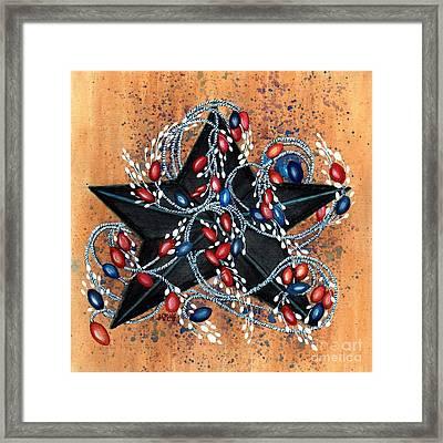 Red Berries De Vine - Black Star Framed Print by Janine Riley
