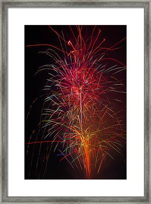 Red Blazing Fireworks Framed Print by Garry Gay
