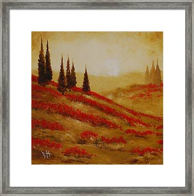 Red Blooms At Dawn Framed Print by Debra Houston