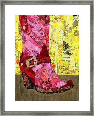 Red Boot Framed Print by Paula Dickerhoff