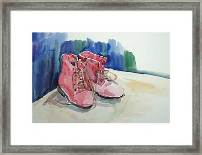 Red Boots Framed Print by Becky Kim