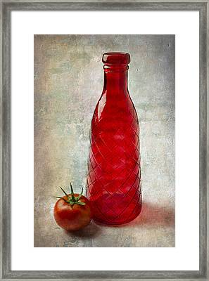 Red Bottle And Tomato Framed Print by Garry Gay