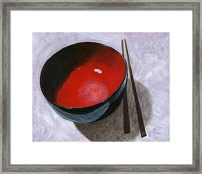 Red Bowl And Chop Sticks Framed Print by Karyn Robinson
