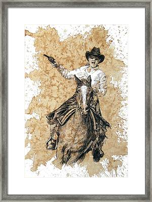 Red Buffalo Gal Framed Print by Debra Jones