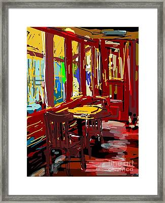 Red Cafe Framed Print by Sandra Haney
