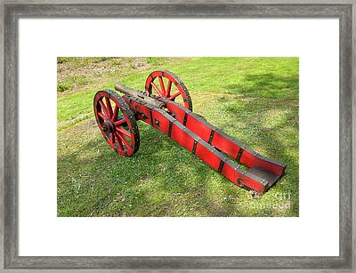 Red Cannon At Swedes Invasion Framed Print by Arletta Cwalina