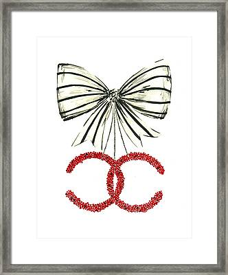 Red Chanel Bow  Framed Print by Koma Art