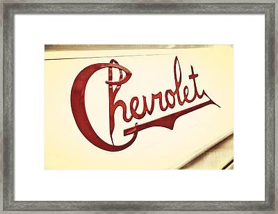 Red Chevy Framed Print by Caitlyn  Grasso