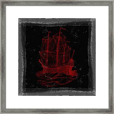 Red Clipper Ship Starry Night Framed Print by Brandi Fitzgerald