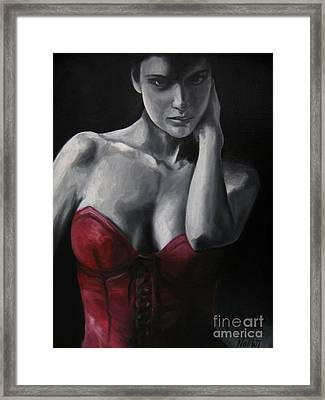 Red Corset Nr.4 Framed Print by Jindra Noewi