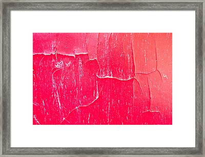 Red Cracked Wood Framed Print by Tom Gowanlock