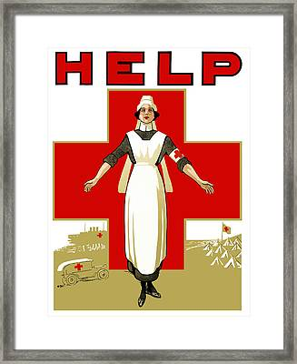 Red Cross Nurse - Help Framed Print by War Is Hell Store