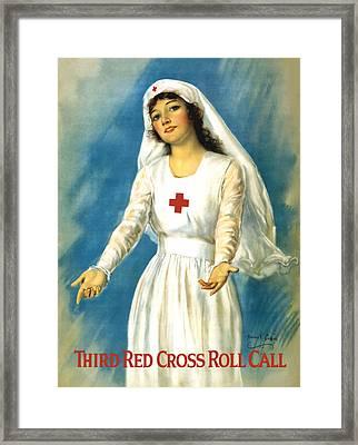 Red Cross Nurse - Ww1 Framed Print by War Is Hell Store