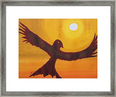 Red Crow Repulsing The Monkey Original Painting Framed Print by Sol Luckman