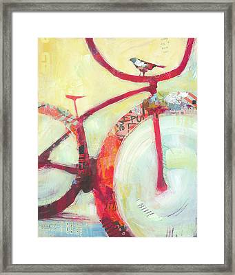 Red Cruiser And Bird Framed Print by Shelli Walters