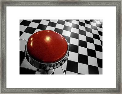 Red Cushion Stool Above Chequered Floor Framed Print by Peter Young