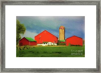 Red Dairy Farm Framed Print by Anthony Djordjevic