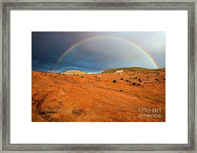 Red Desert Rain Framed Print by Mike Dawson