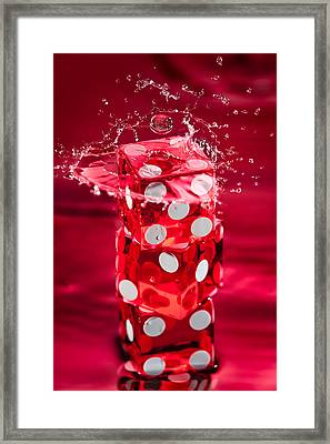 Red Dice Splash Framed Print by Steve Gadomski